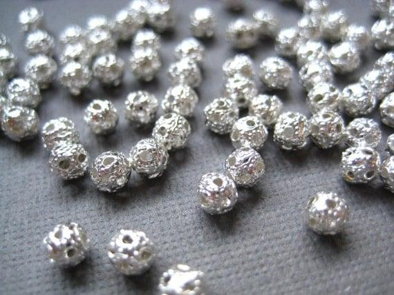 Silver Tone Filigree Caps Bead 50 pcs 4mm