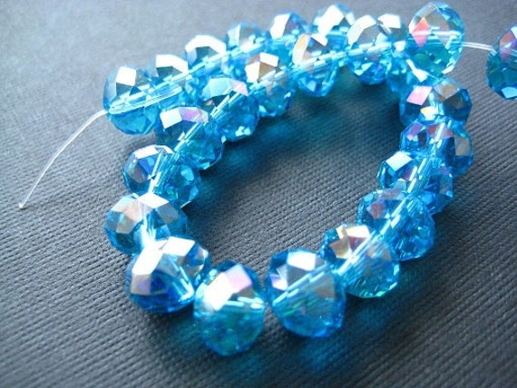 Ocean Blue AB Rondelle Faceted Beads 29 pcs 10x8mm