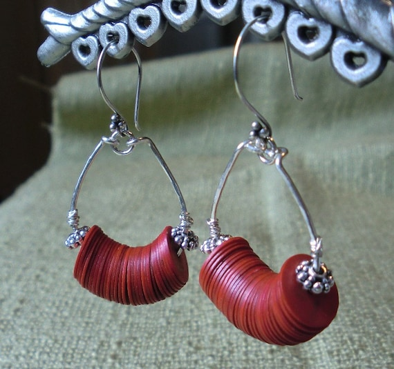 Silver hoops with recycled vinyl record beads