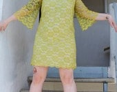 Acid Green Lace Overlay A-Line Dress- Mod Mad Men- Large