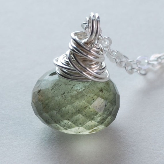 Moss Green Aquamarine Necklace Wire Wrapped Sterling Silver Jewelry Faceted Onion Briolette Womens Fashion Gemstone Jewelry