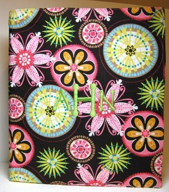 Personalized 3 Ring Binder Cover - 1 Inch - Michael Miller Carnival Bloom