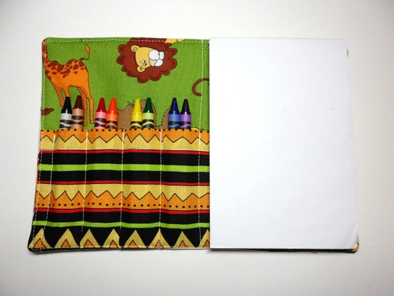 Children's Crayon Wallet Coloring Case - Jungle Friends - Includes 8 Crayola Crayons and White 4x6 Notepad - Ready to Ship
