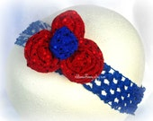 Rock Chalk KU Kiddo Fancy Crocheted Headband