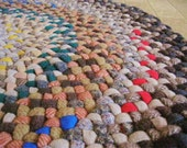 RESERVED for mailmetzger Vintage Wool Braided Round Rug in Earthtones from upcycled wool