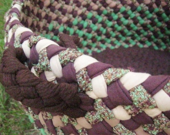 Large Utility Braided Fabric Basket In Chocolate Brown and Moss Green from upcycled/recycled fabric