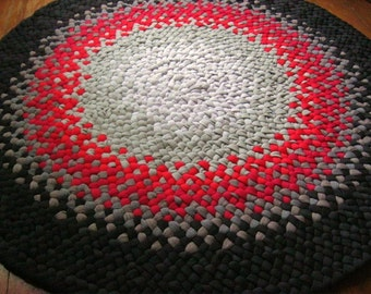 Made to Order Handmade Black, Gray, Red Braided Area Rug / Rag Rug / Carpet from recycled fabrics for nursery , bathroom , kitchen , entry