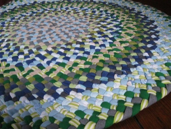 Baby Blue And Green Braided Round Rug From Recycled Fabrics