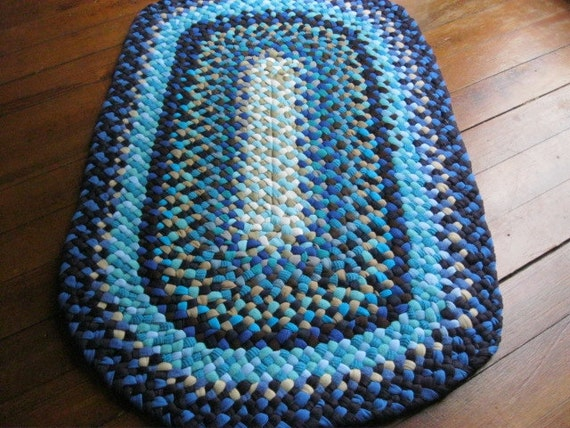 Made To Order-Shades of Blue Oval Braided Rug from upcycled cotton