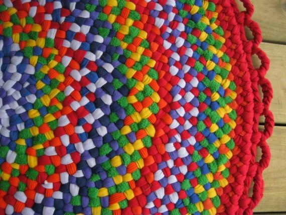 Handmade Rainbow Braided Area Round Rug from Upcycled cotton