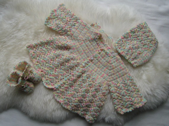 Items similar to New crocheted baby set--sweater, bonnet ...