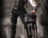 Black Leather Fancy Belt Bag