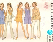Butterick 5680 Plus Size Vintage Sewing Pattern 1970s Tunic, Jumper Dress, Shorts, Pants Bust 43 Inches Size 20.5 Uncut