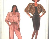 Simplicity 8350 Vintage 1980s Jumpsuit, Cropped Jacket, and Dress Sewing Pattern Uncut Bust 31- 36 Inches