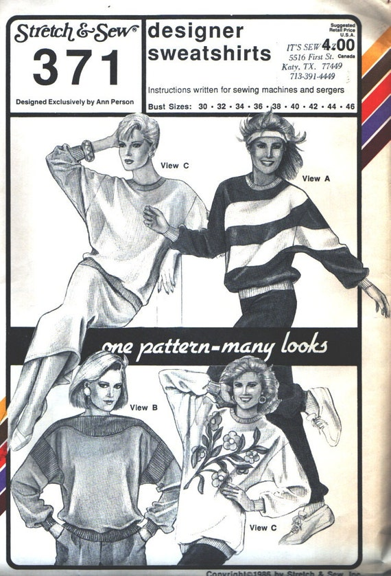 Stretch and Sew 371 Vintage Sewing Pattern 1980s Sweatshirts Bust 30-46 Inches Uncut