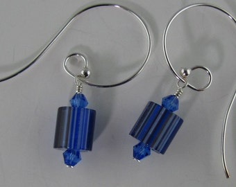 Blue Furnace Glass Earrings