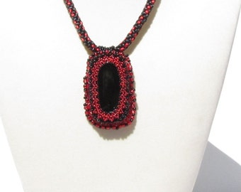 Kumihimo Necklace with Beaded Cabochon