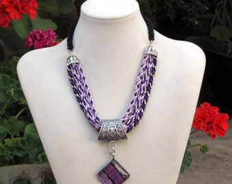 Kumihimo Triple Pink, Purple and Black Necklace with Dichroic Pendant