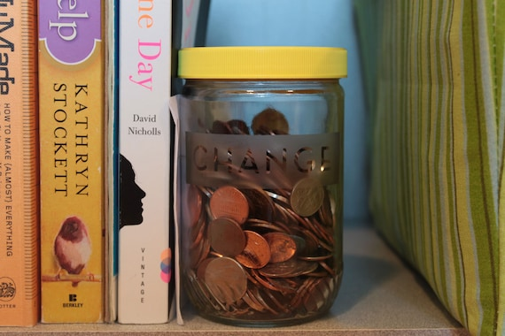 Change - Etched Recycled Peanut Butter Jar Piggy Bank