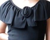 Vintage Edith Flagg Rosette Black Sheath, Medium/Large