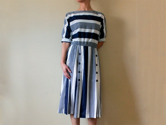 Vintage Nautical Striped Boatneck Sailor Dress, Medium