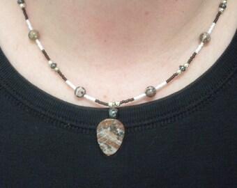 SALE - Leopard Skin Jasper and Hematite Necklace