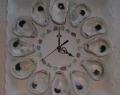 Oyster Shell Wall Clock with ocean hued sea glass
