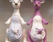 one pcs random cloth printed art kangaroo mom with baby Doll new