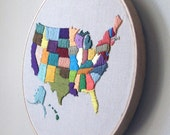"Hand Embroidered Map of USA Wall Hanging in 8"" Hoop"