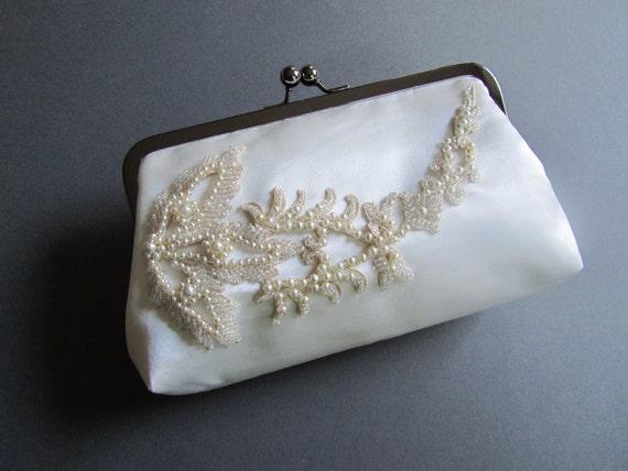 Wedding / Ivory Ophelia Clutch Bag / White / Vintage Trim / Brides Clutch