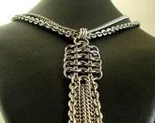 Stainless Steel Fringed European Rectangle Pendant
