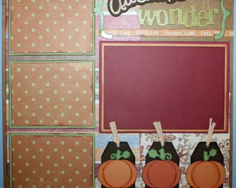 12x12 PREMADE SCRAPBOOK PAGE AUTUMN WONDER FALL LEAVES SEASONS
