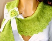 Hand Knit Neckwarmer, Scarf,  Lemon Green, Adorned With Ribbon and Flower,Winter Accessories, Fall Fashion, Shawl