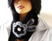 Handknit Black Neckwarmer Scarf, Black Gray Flower, Beads And Button,Winter Accessories, Fal Fashion,   Wrap, Cowl, Chunky