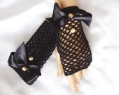 Hand Crochet Black Lace Gloves, Mitten, Arm Warmer, Black Ribbon And Beeds, Holiday Accessories, Bride gloves, Bridesmaid mitten