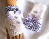 Hand Knit Gloves, White Gray Blue Lavender Fingerless Gloves, Mitten, Arm Warmer, Adorned White Ribbon And Beads