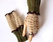 Hand Crochet Green Beige Gloves, Fingerless Gloves, Hand knitted Mitten, Lace Trend, Winter Accessories, Women Gloves, Holiday Accessories