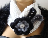 Hand Knit White Scarf Neckwarmer, Black Gray Flower, Beads, Winter Accessories,, Fall Fashion, Holiday Accessories,  Winter Fashion,