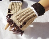 Hand Crochet Beige And Brown Gloves, Mitten, Fingerless, Arm Warmer, Lace And Beeds, Lace Fashion,  Winter Accessories, Holiday Acces