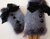 Hand knit Gray Gloves, Mitten Adorned  Black Ribbon Bow And Beeds, Holiday Accesssories,  Winter Fashion, Winter Accessories