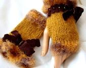 Hand Made Knitting Selective Yellow  Fingerless Gloves Arm Warmer Adorned Velvet Ribbon And Beeds