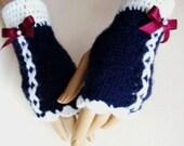 Hand Knit Gloves, Dark Blue Mitten, Ornamented Dark Red Ribbon, Winter Accessories, Holiday Accessories