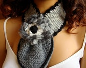 Hand Knit Neckwarmer Scarf, Gray, Neck Accessories, Flower, Chunky, Cowl, Holiday Accessories, Fall Fashion,  Winter Accessories