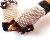 Hand Knit Winter Gloves, Lace fashion, Beige Brown Gloves, Fingerless Gloves, Half Finger, Arm Warmer,  Mitten, Winter Accessories