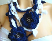Dark Blue And White Lariat Scarf, Ornamented With Organza Flowers