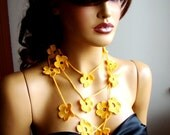 Hand Crochet Yellow Lariat Scarf, Necklace, Neck Accessories, Fall Colours,Lace Fashion, Coton