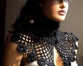 Hand Crochet Black Capelet Ornamanted Black Button, Shrug Wrap Shawl, Fall Fashion, Lace Fashion, Winter Accessories