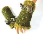 Hand Knit Green Gloves, Mitten, Arm Warmer, Adorned Ribbon Holiday Accessories, Winter Accessories, Fall Fashion