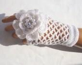Bridal Gloves,  Hand Crochet  White Lace Gloves,  Mitten, Half Finger, Fall Fashion, Winter Accessories, Warm Soft Fingerless