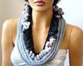 Hand Crochet Gray White Black Lariat Scarf, Infinity Chain Scarf, Loop Scarf,  Long scarf, Spring Fashion
